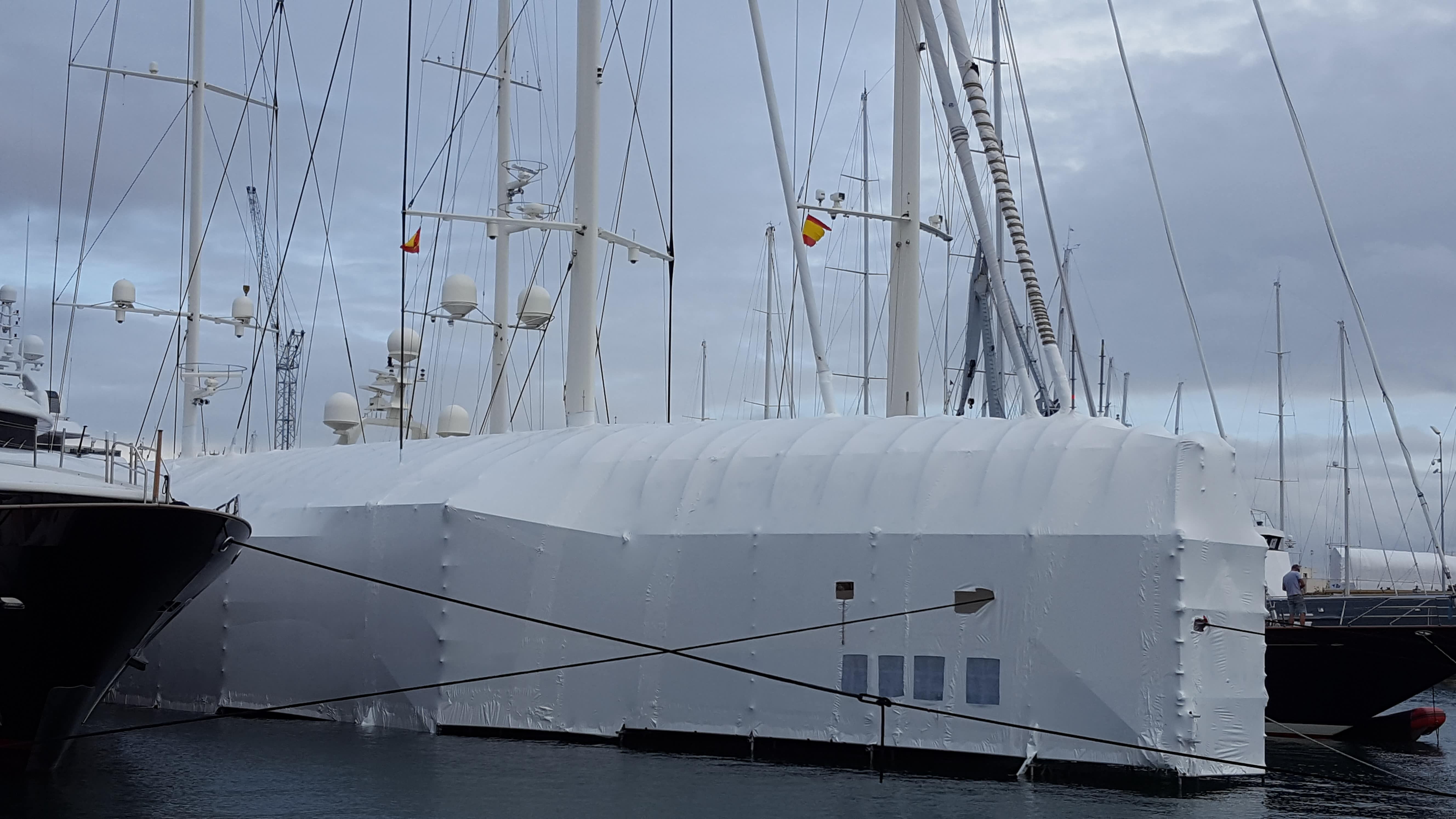 Yacht during refit